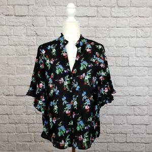 Maeve Anthro black floral print wide sleeve top